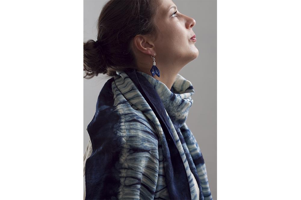 Foulard en laine mérinos Indigo - 50 x 190 cm