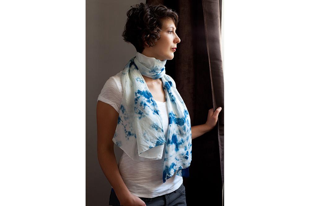 Foulard en soie japonaise Indigo - 55 cm x 160 cm